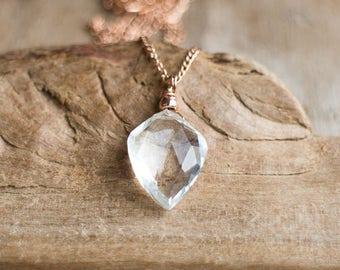 Crystal Quartz Necklace in Rose Gold Filled, Gold Filled or Silver, Clear Quartz Kite Pendant, Rock Quartz Necklace, April Birthstone