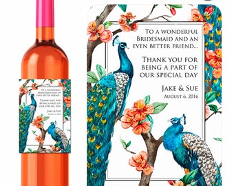 Personalized Wine Labels / Bridesmaid Labels / Tropical Peacock Labels / Wedding Labels / Thank You Labels / Custom Wine Gifts / Anniversary