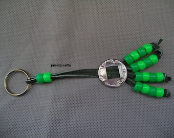 Beaded key chain ,Green keychain  ,Purse charm , Car charm, ,Back pack charm ,Beaded key chain , Stocking stuffer , Leather key chain