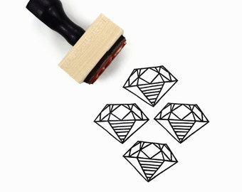Rubber Stamp Diamond | A Girl's Best Friend Hand Drawn Stamp