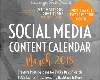Social Media Planner / Social Media Content Calendar / Social Media Marketing Plan with POST IDEAS for Every Day of March 2018