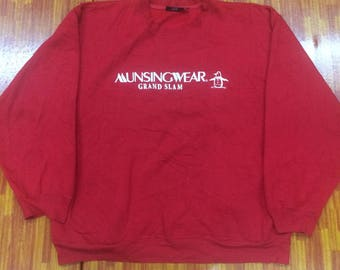 Vintage GRAND SLAM by munsingwear hip hop rap tees sweatshirts nice condition..size XL..red colour