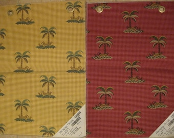 Hickory Chair Palm Tree Botanical Lampas Designer Fabric Sample Gingham Checked Embroidered Choose One