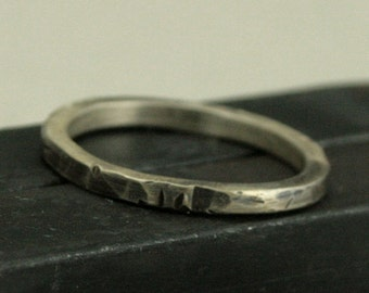 Oxidized Silver Ring - Traveling Band - 2mm Square Sterling Silver Ring - Hammered Silver Band - Rustic Ring - Custom Made to Size