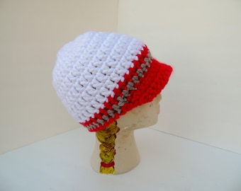 Brimmed Beanie, Hometown Newsboy Cap, White, Red and Grey