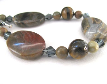 Bracelet, Fire Lace Opal, Tiger eye, Silver Leaf Jasper, Crystal, 8 inch long B-7073