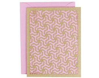 Blank Card - Geometric Peony Pink Laser Cut