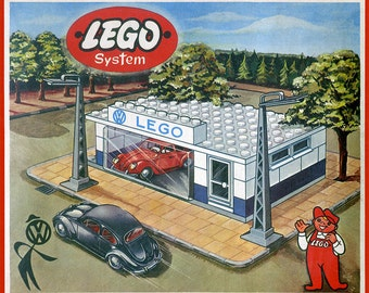 Lego Volkswagen Beetle Dealership Boxtop Art ~ Poster Print