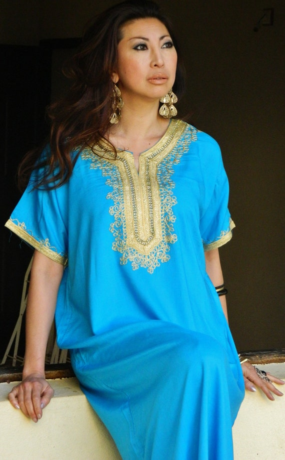 Autumn Turquoise Resort Caftan Kaftan Fez-Perfect for Eid, resortwear,loungewear, birthdays, honeymoon, maternity gift, beach cover up