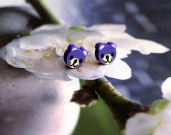 Purple jewel bear Stud Earrings