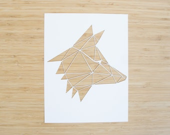 Laser-Cut Papercutting Artwork - Geometric Fox Head