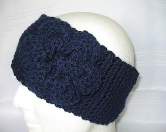 Soft, Cosy and Stylish Navy Ear Warmer/Headband with Rose