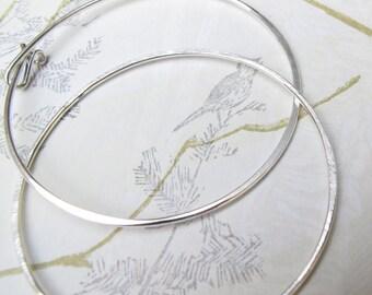 "2"" silver hammered hoops - classic sterling silver endless hoop earrings - boho style"