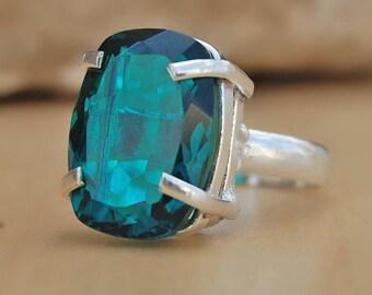 Dioptase quartz Ring, cushion cut Dioptase quartz sterling silver ring, Dioptase quartz Solid silver ring Jewelry