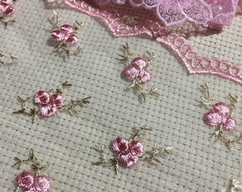 """Beautiful Embroidered Rose Sheer Lace ( 6"""" Wide ) Sewing, Embellishments, Junk Journals, Scrapbooks, Collages"""