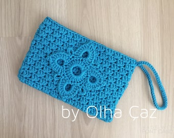 Floral clutch Blue small bag Clutch bag with flower Crochet clutch floral Blue clutch Crochet blue clutch bag Crochet handbag