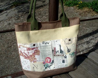 Women Canvas tote bag Newspaper print military shoulder bag large tote shopper bag vegan bag cotton diaper bag summer beach bag zippered bag
