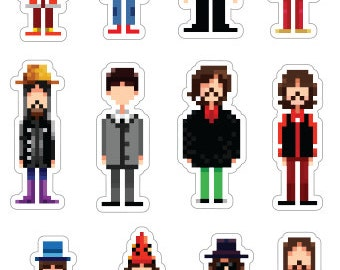 "George Harrison 4"" x 6"" diecut sticker sheet - Throughout the years (12 pcs)"