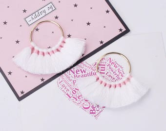 2 pendants Gold Multi-Pompons White / Rose 8cms
