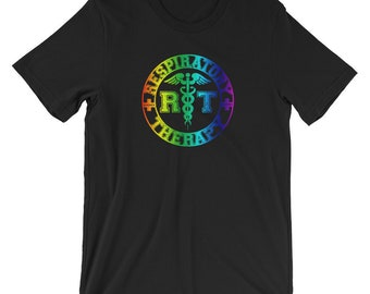Respiratory Therapy Therapist Rainbow RT Logo Unisex T-Shirt for RRT Respiratory Therapy Gift