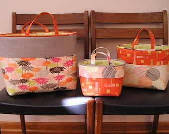 Fabric baskets, set of 3.  Orange, grey and green.  Cotton, lined, with handles. Organizer, storage baskets.  Small, medium & large baskets.