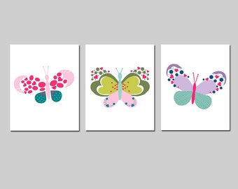 Butterfly Decor Butterfly Wall Art Butterfly Art Butterfly Room Decor Butterfly Nursery Art Butterfly Prints Set of 3 - CHOOSE YOUR COLORS