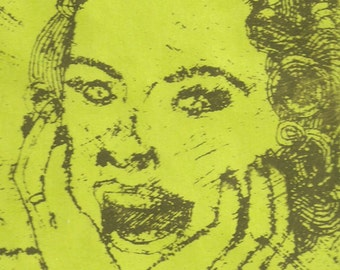 Screaming Woman Print- Atomic Mid Century Housewife- Collograph Print- 10 x 12 inch Lime Green