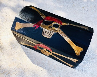 Beach Decor Pirates Treasure Box Wooden by SEASTYLE