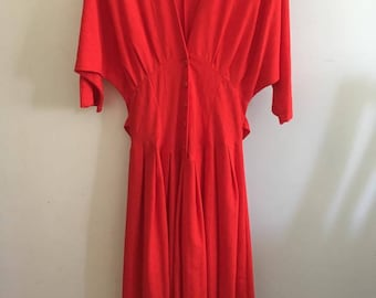80s does 40s red day dress