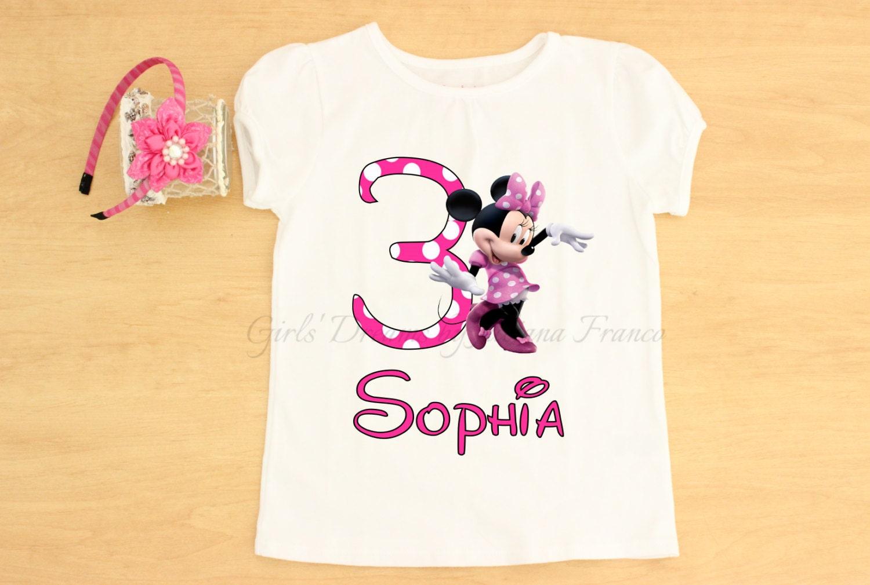 Pink Minnie Mouse Shirt and Headband, Minnie Mouse Shirt, Minnie Personalised Shirt, Minnie Dress, Minnie Shirt, Minnie Birthday, Minnie