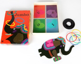Vintage game-Ring throwing with a circus elephant-Jumbo, no. 120