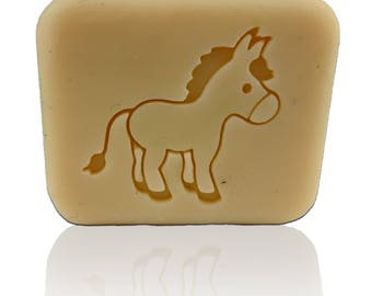 "Cute Donkey Soap Stamp - Footprint 1.85"" x 1.69"" (47mm x 43mm) - Available With or WitOut handle"
