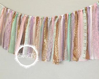 Pink, lavender, mint & gold fabric banner - photography prop, cake smash, backdrop, curtain valance