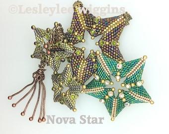Beading pattern / tutorial. Beaded star. miyuki seed beads. miyuki delica beads