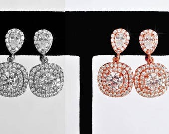 Rhodium or Rose Gold Cubic Zirconia CZ Halo Dangle Clip-On Bridal Earrings, Bridal, Wedding (Sparkle-2429)