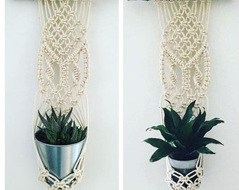 Snap Dragon, handmade macrame tapestry plant hanger, 100% natural materials