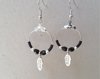 Black feather hoop Earrings