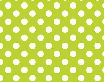 SALE 1/2 yard  Le Creme Medium Dots from Riley Blake Lime Green