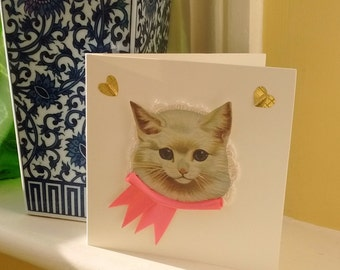 You're Purrfect,Funny Cat Mother's Day Card,Victorian style kitty ,Kitten Birthday,Blank,Handmade Art,Thinking of You,Thank You, Notelet