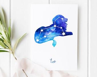 Leo Horoscope Birthday Card Printable & Wall Art Poster   Digital Download   Astrology Watercolour Painting, Star Sign, Nursery Room Decor