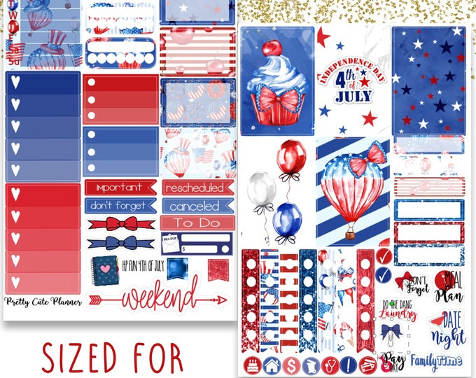 Fun 4th of July Happy Planner Sticker - Planner stickers - Holiday Stickers -  Functional stickers - Independence Day stickers - 4th of July