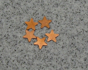 12mm Copper 5-Point Star 24 Gauge  Pack of 5
