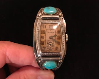 EXCEPTIONAL Early Vintage Native American Navajo Turquoise & Sterling Wrist Watch Bracelet Cuff