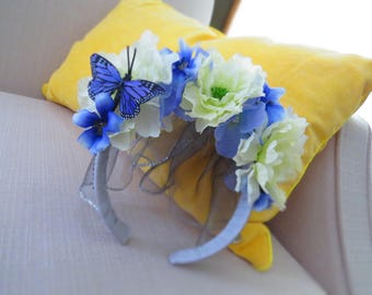 Bridal Blue and Off-White Flower Crown Fascinator