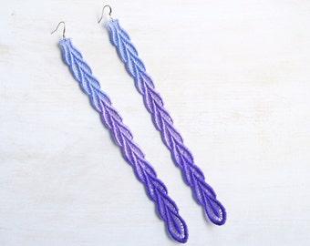 Lace Earrings Purple Ombre