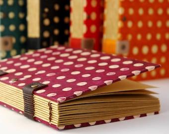 Journal, Coptic binding, plum polka dots, pregnancy journal, kraft paper notebook, travel