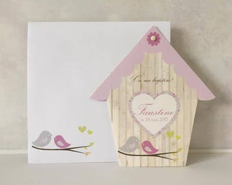 10 invitations christening - shaped birdhouse bird - customizable print - communion baptism birthday