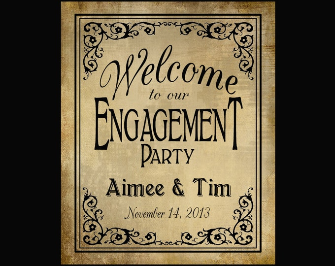 Personalized Welcome to our Engagement Party PRINTABLE File with Bride & Groom Names and wedding date - DIY - Black Tie Collection