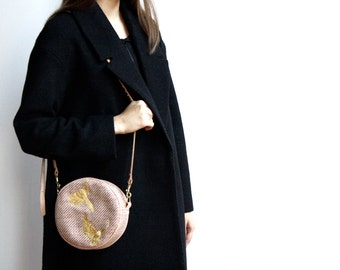 SALE Circle Bag. Holiday Cocktail Gold Embroidered Pink Wool Bag. Circle Shoulder Pink Bag. Nude Shoulder Bag.