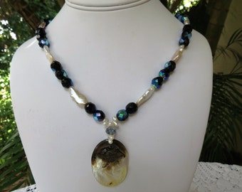 Carved Cameo and Fresh Water Pearl Necklace